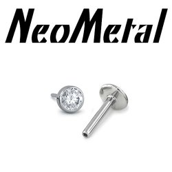 "18 Gauge 18g NeoMetal Titanium Threadless Flatback Labret Post with Bezel-set Faceted Gem End ""Press-fit"""