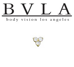 "BVLA 14kt Gold ""Tri Prong Cluster"" 1.25mm Gems Threaded End Dermal Top 18g 16g 14g 12g Body Vision Los Angeles"