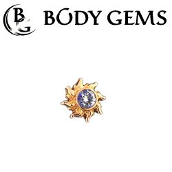 "Body Gems 14kt Gold Sun Threadless 18g 16g 14g (25g Pin Universal) Threadless Posts ""Press-fit"""