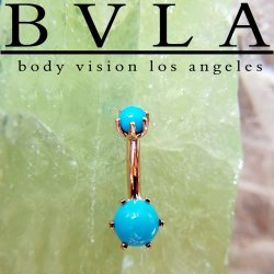 BVLA 14kt Gold Bead Prong Navel Curve Barbell 14 gauge 14g Body Vision Los Angeles