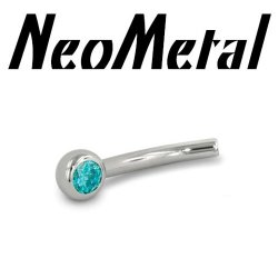 "18 Gauge 18g NeoMetal Threadless Titanium Fixed Side Gem Curved Barbell Shaft ""Press-fit"""