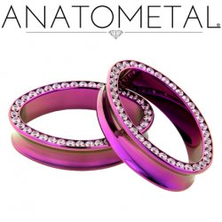 "Anatometal Titanium Ellipse Multi Gem Eyelet Tunnel 1"" - 2"""