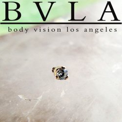 "BVLA 14kt & 18kt Gold ""3-Prong 2mm Gem"" Threaded End 18g 16g 14g Body Vision Los Angeles"
