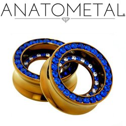 Anatometal Titanium Double Orbit Gem Double Flare Eyelet 0g-2""