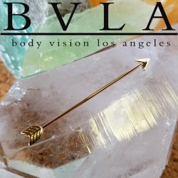 "BVLA 14kt & 18kt Gold ""Robin Hood"" Industrial & Nipple Barbell 16g Body Vision Los Angeles"