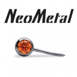 "NeoMetal Threadless Titanium Side-Gem Ball 2mm for Curved Barbell 25g Pin (will fit 18g, 16g, 14g Universal Threadless Posts) ""Press-fit"""