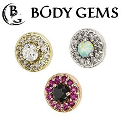 "Body Gems 14kt Gold ""Halo"" Threaded End Dermal Top 18 Gauge 16 Gauge 14 Gauge 12 Gauge 18g 16g 14g 12g"