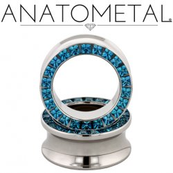 Anatometal Surgical Steel Princess-cut Gem Eyelet Tunnel 0g - 7/8""