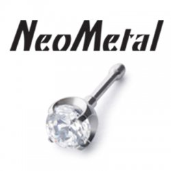 "16 Gauge 16g NeoMetal Threadless Titanium Prong-Set Gem 4.0mm ""Press-fit"""