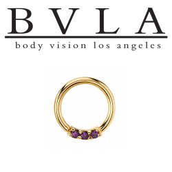 "BVLA 14kt & 18kt Gold ""Blaze 3 with 1.5mm Gems"" Nose Nostril Septum Daith Seam Ring 18 Gauge 16 Gauge 18g 16g Body Vision Los Angeles"
