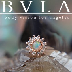 "BVLA 14kt & 18kt Gold ""The Rose 5mm"" Threaded End Dermal Top 18g 16g 14g 12g Body Vision Los Angeles"