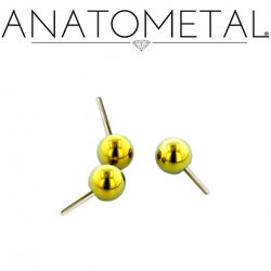 Anatometal Titanium Threadless Ball End 25g Pin (will fit 18g, 16g, 14g, 12g Universal Threadless Posts) Press-fit