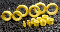 "Double Flared Jackfruit Wood Eyelets 6g-2"" (Pair) 4mm-51mm"