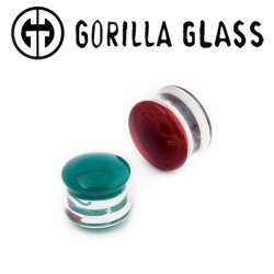 Pair of Black Glass Single Flared Color Front Plugs