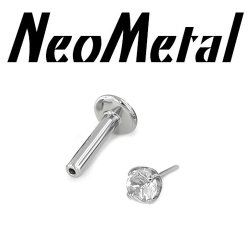 "16 Gauge 16g NeoMetal Titanium Universal Threadless Flatback Labret Post with Prong-set Faceted Gem End ""Press-fit"""