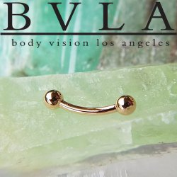 BVLA 14kt Gold Curved Barbell Threaded Ball Ends 14 Gauge 14g Body Vision Los Angeles