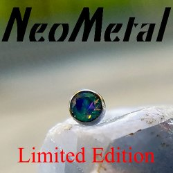 "18 Gauge 18g NeoMetal Limited Ed. Threadless Titanium Bezel-set Faceted Black Opal Gem End 2.0mm ""Press-fit"""