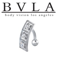 BVLA 14kt Gold Entrapment CZ Navel Curved Barbell 14 Gauge 14g Body Vision Los Angeles